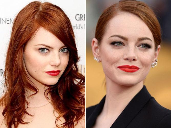眉型对了,粗细也要注意,圆脸不适合太细的眉毛,不要像右图Emma