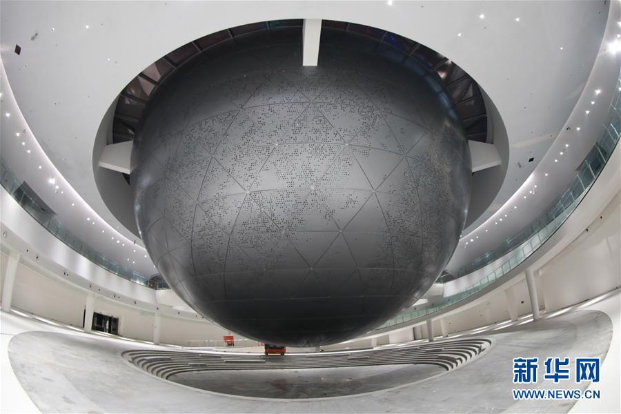 (圖文互動)(1)形似天文儀器的上海天文館首次亮燈慶中秋