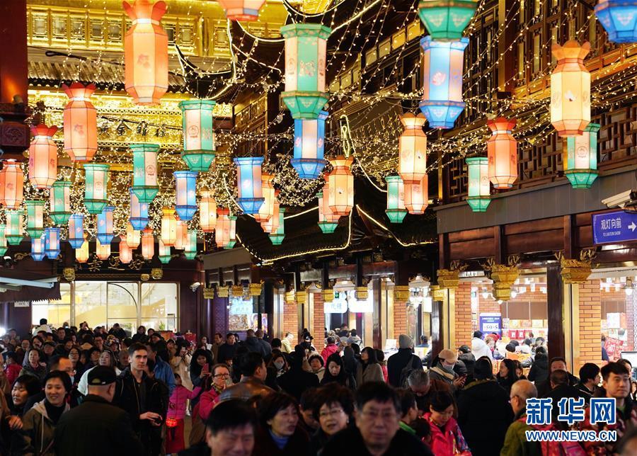 (社會)(1)上海豫園:燈海人潮迎新春