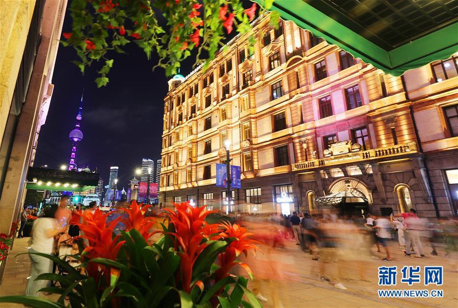 """(社會)(3)上海南京路步行街東拓段亮燈""""開街"""""""