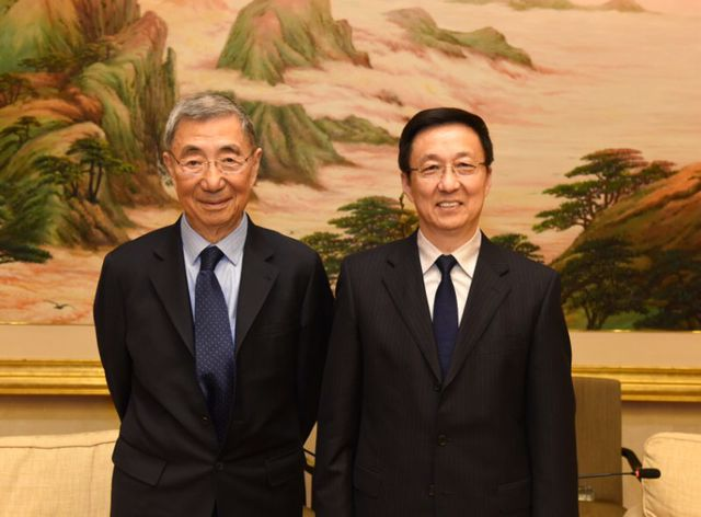 韩正会见著名华裔科学家丁肇中等一行