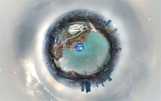 航拍全景合肥冬季天鹅湖