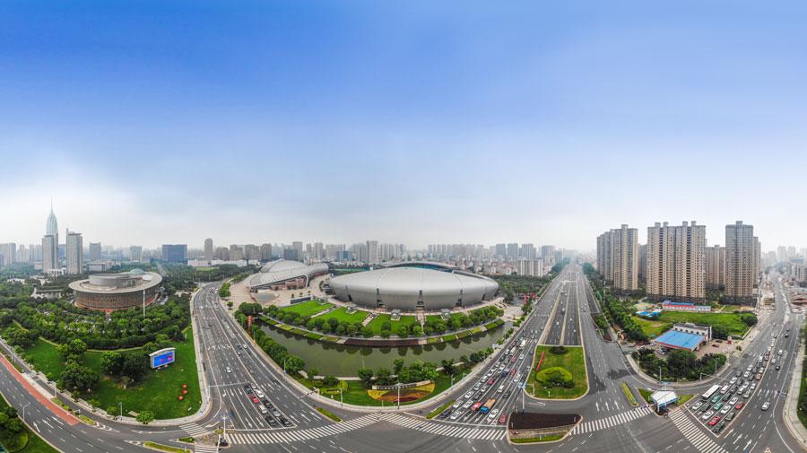 """【改革开放40年""""飞阅""""长三角】VR航拍常州新城奥体中心"""