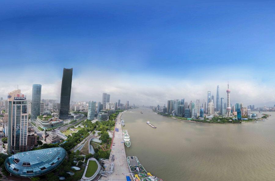 中國航海日航拍VR黃浦江北外灘