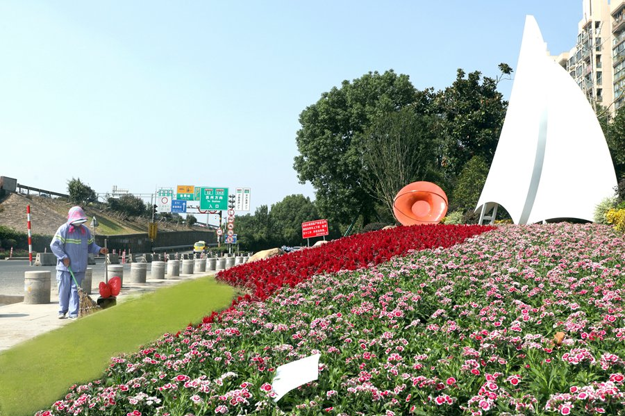 9月30日,华江公路京沪高速入口处(国家会展中心方向),整修一新后的绿化景观。