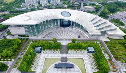 航拍沪上科普名片上海科技馆 宛如一把展开的折扇