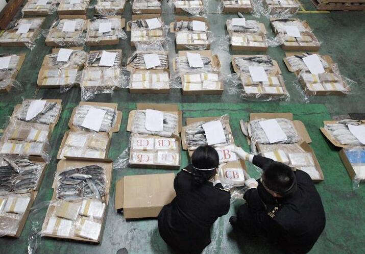 中柬合作查获走私可卡因1.1吨