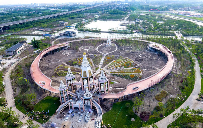 航拍将开园的上海浦江郊野公园