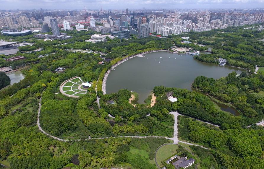 """航拍""""城市绿洲""""上海世纪公园"""