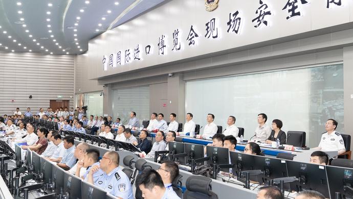 应勇观摩进口博览会首次城市保障综合演练