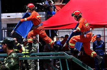上海崇明举行应急救援力量联勤技能比武